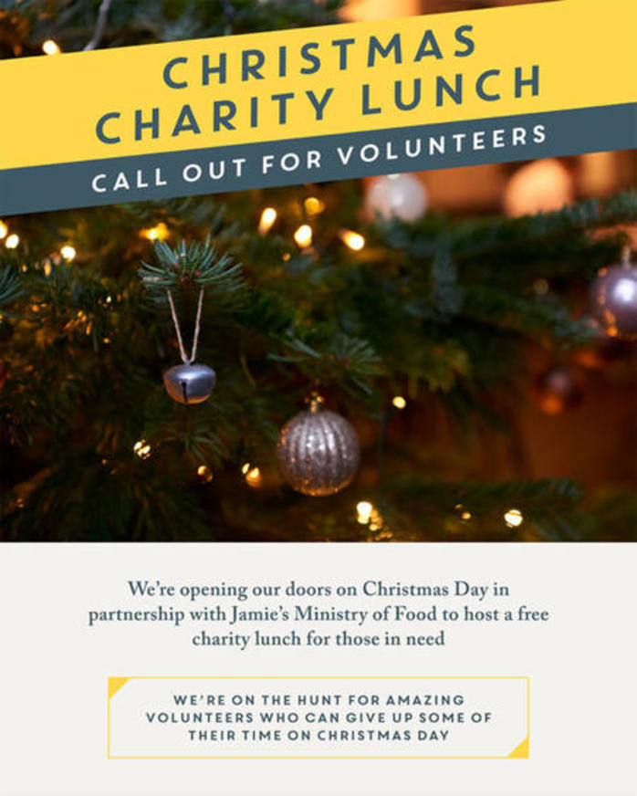 Jamies Italian Christmas Charity Lunch Call for Volunteers